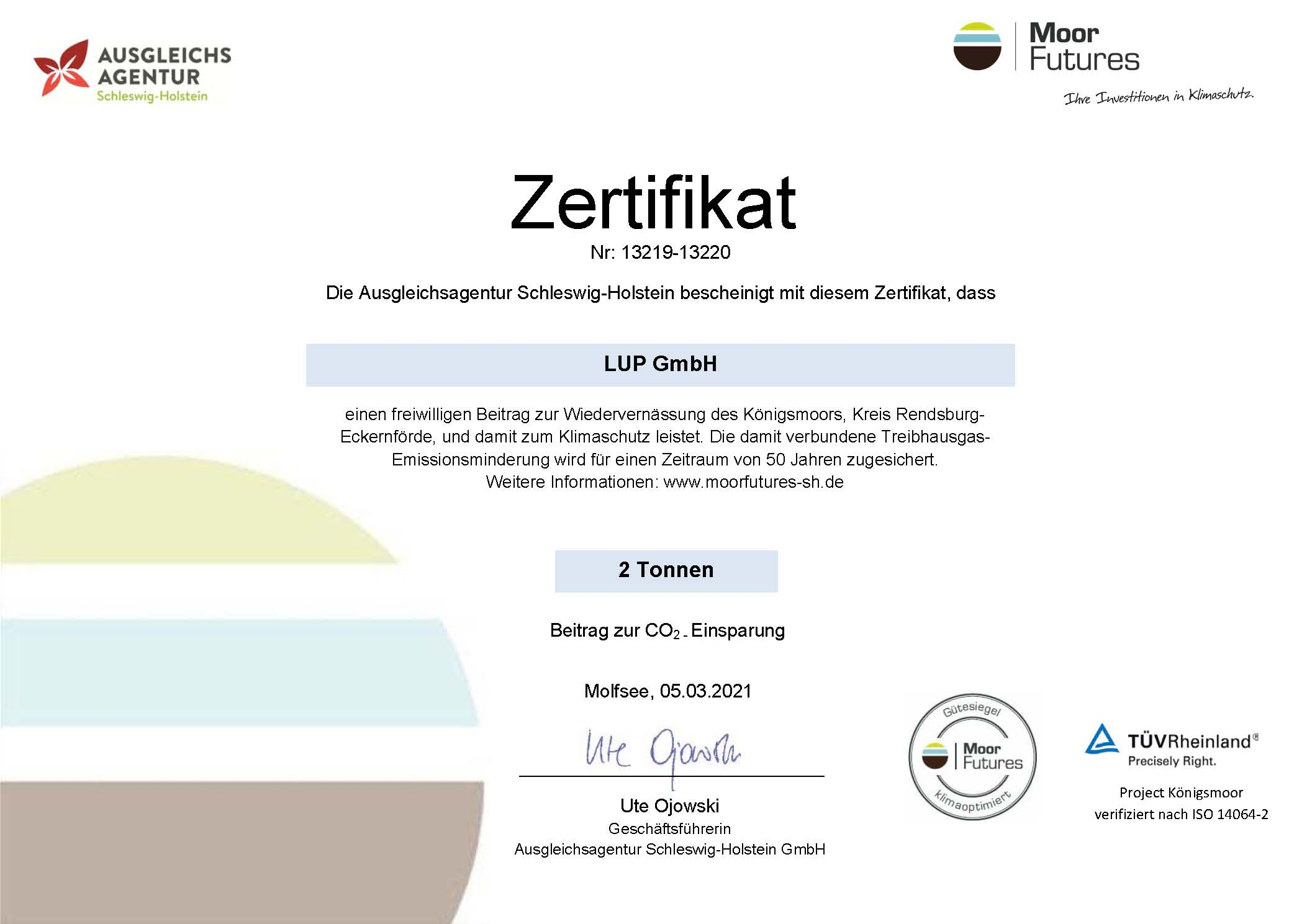 Zertifikat Wiedervernässung Königsmoor LUP GmbH